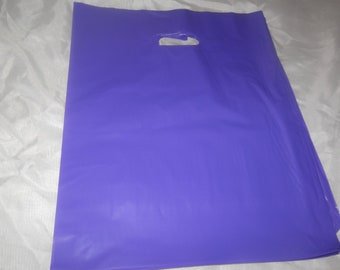 100 Glossy Purple Plastic Merchandise Bags size 12x15 Handle Retail Gift Bags wholesale lot