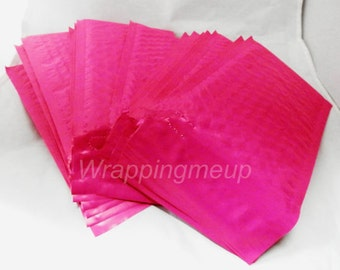10 Pack  Hot Pink 4x8 Bubble Mailers, Padded envelopes,Fluorescent Pink Mailing Neon Pink Shipping Envelopes