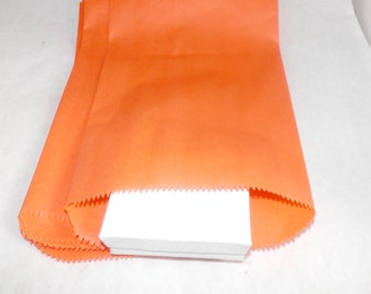 100 6x9 Orange Paper Merchandise Bags, Party Bags,Favor Bags, Gift Bags,  Weddings,Colored Bags, Birthday Craft Bags