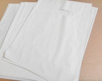 100 pack 9 x 12 White Glossy Retail Merchandise bags  Low Density Plastic Merchandise Gift Bags