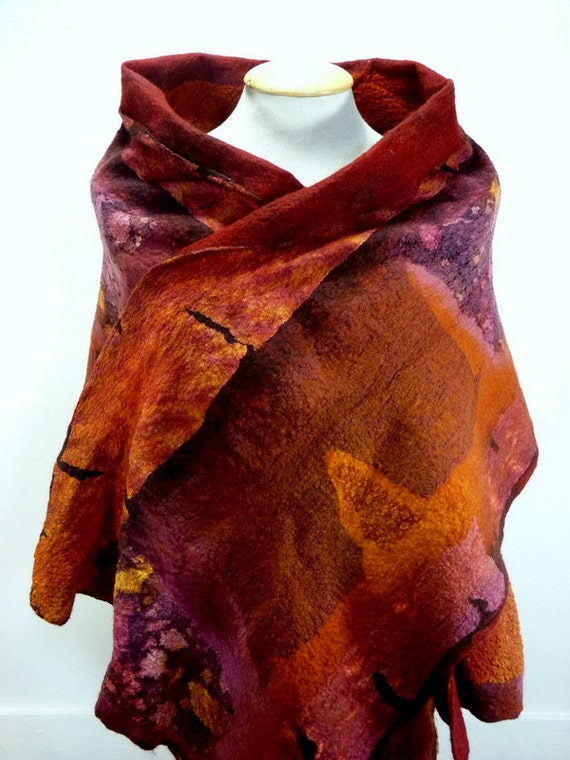 Nuno felt reversible art to wear shawl / wrap 'Red Earth'