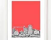 Raleigh Art Print - Raleigh, NC City Skyline Poster - Raleigh North Carolina