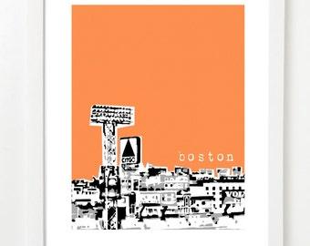 Boston Skyline Art Print - Fenway View - Boston Poster - City Art -