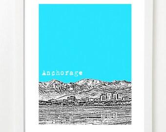 Anchorage Alaska City Skyline Poster  - State Art Print