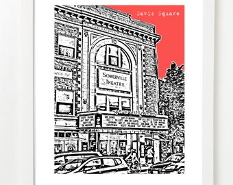 Davis Square, Boston Poster - City Skyline Series Art Print - Somerville, Massachusetts