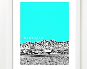 Las Cruces New Mexico Poster - Las Cruces City Skyline Art Print - Las Cruces NM