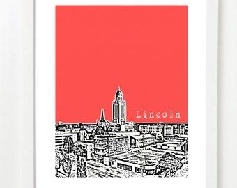 Lincoln Poster - Lincoln Nebraska City Skyline Poster - Lincoln Anniversary Gift -