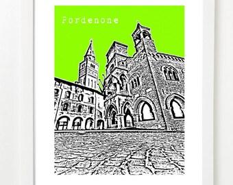 Pordenone Italy Art Print - Europe Travel Poster Series - Pordenone Skyline - Campanile
