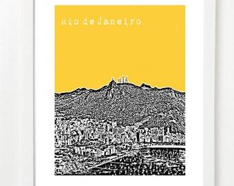 Rio Art Print - Rio de Janeiro Brazil City Poster - South America Skyline Series- VERSION 2
