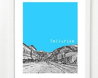 Telluride Colorado Poster - Telluride City Skyline Art Print - Telluride CO Gift