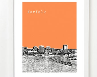 Norfolk Virginia Skyline Poster - Norfolk City Print - VERSION 2