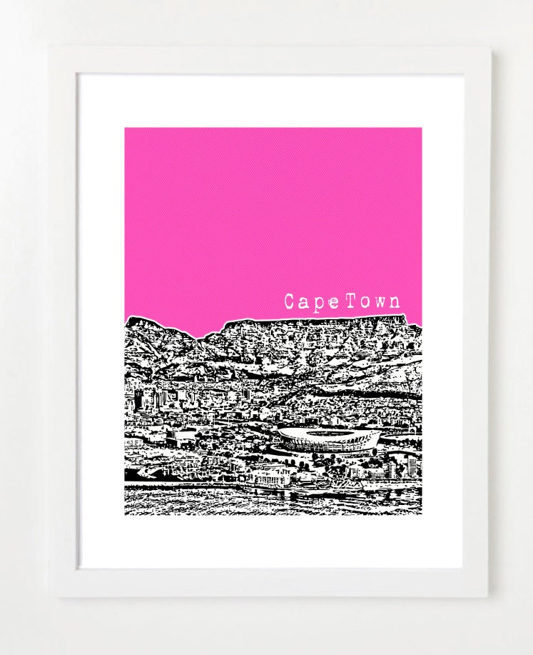 Cape Town South Africa Poster Skyline Art Print City View
