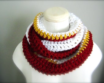 Crochet Red, White, and Gold NHL,Calgary Hockey, Football, Soccer, Sports Team Colors Infinity Scarf, Men's Scarf, Unisex Scarf