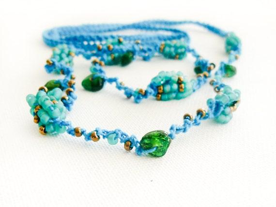 Bead crochet skinny headband Turquoise bronze mint green beach hair accessories