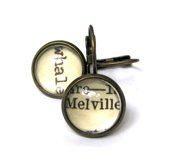 Herman Melville and Whale Moby Dick Recycled Library Card Word Earrings Patina Brass