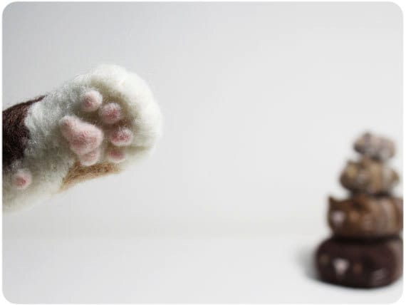 Cat Paw - needle felted wool Pencil Cap