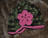 Newsboy hat - camoflauge with pink trim and flower - baby girl