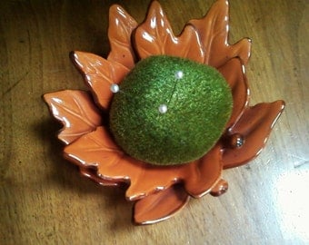 Moss Pincushion on Double Leaf Plate