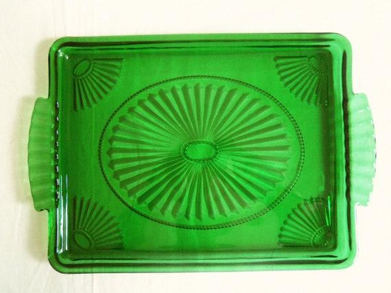 Dark Green Depression Glass Tray