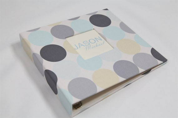 Baby Memory Book...Blue and Grey Dot...Completely Handmade..The Sweet Rhino