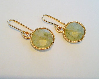 Fluorite Gemstones Earrings - Green mint and gold Earrings - green Earrings - Mint Earrings - drop Earrings - Mothers Day