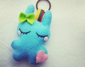 Dreaming Baby blue rabbit  felt plush toy cute keychain, backpack charm, kids birthday party favor
