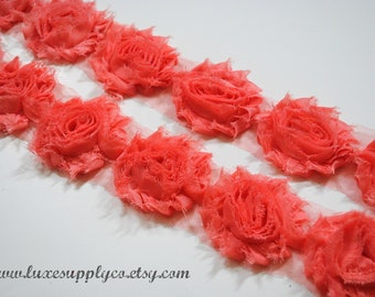 Shabby Chiffon Flower Trim QUALITY DISCOUNT - Your Choice: 1/2 yard or 1 yard - ORIGINAL Salmon Shabby Chiffon Flower Trim by the Yard