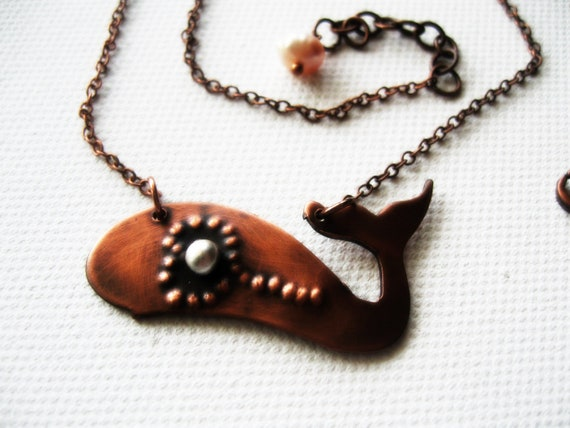Whale Necklace Rustic Copper Heart line Silver Dew