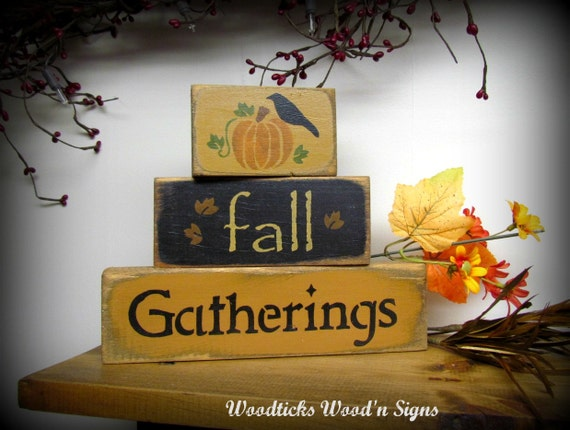 Wood Signs Fall Gatherings Stack Of