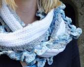 Gorgeous Crochet Ruffle Scarf in White, Blue and Grey