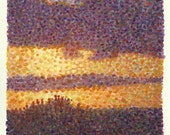 This mixed media oil painting depicts a dramatic sunset scene.