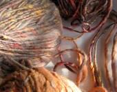 Handspun luxury art yarn Merino wool and mulberry silk 325 yard / 10.6 oz Light and Dark Grey, Coral, Amber