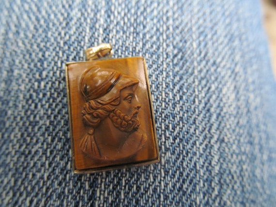 14k solid gold  TIGER EYE cameo pendant of Ajax