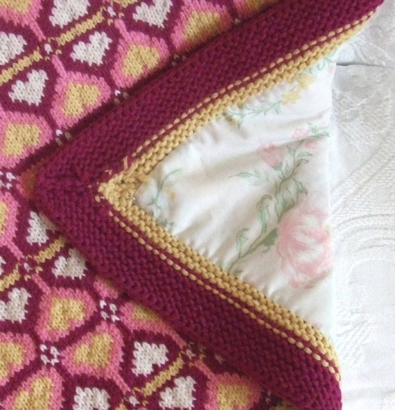 Knitting Pattern-Sweetheart Baby Blanket, knit Fair Isle baby ...