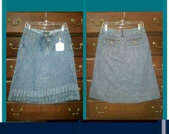 front ruffle jean skirt