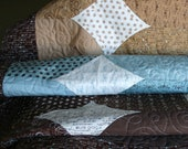 Traditional Lap Quilt in Sky Blues, Caramels, Creams and Browns