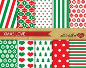 Digital SCRAPBOOKING Paper Pack CHRISTMAS Wrapping Paper with Instant Download