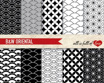 Scrapbooking Digital Paper Pack BLACK and WHITE Japanese Printable Background ORIENTAL Chinese New Year Paper