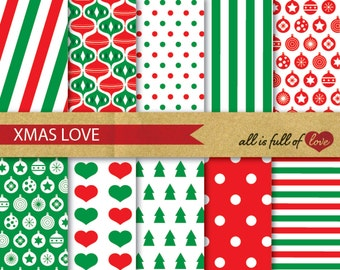 XMAS Digital Paper Pack CHRISTMAS SCRAPBOOKING Digital wrapping paper with Instant Download stripes background paper