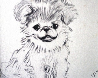 Vintage mounted 1939 Lucy Dawson Pekingese Pekinese Yum Yum puppy dog plate print Unique gift