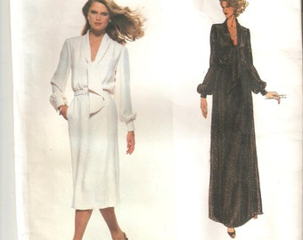 UNCUT Vogue Sewing Pattern 1857, design by Pierre Balman, for Dress Sz 14, 1980s