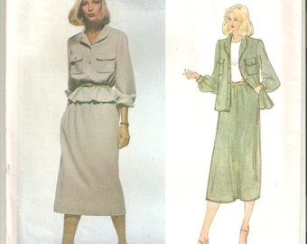 UNCUT Vogue Sewing Pattern, design by Bill Blass for Jacket and Skirt, Sz 14, 1980s