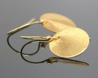 Gold DISC Earrings - Vermeil, Brushed Round Earrings, Sun Drop Earrings.