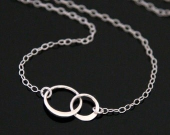 Tiny Forever Linked Circle Necklace - STERLING SILVER, Eternity Circle Necklace, Best Friends Necklace, Mother and Daughter.
