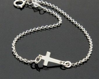 Tiny Sideways Cross Bracelet - STERLING SILVER.