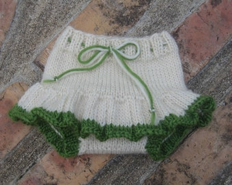 SALE Small Handknit Diaper Cover Wool Soaker Skirty