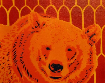 Grizzly Bear spray paint stencil painting on canvas