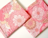 Retro 1970s Flower Power Pillow Cases in Pink