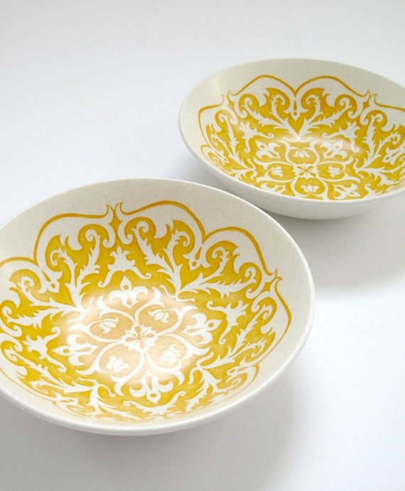 Retro 1970s Meakin Bowls with Funky Yellow Design