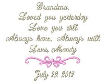 Grandmother Handkerchief -Hankie - Hanky - Loved you YESTERDAY, Love you STILL - Grandma of the Bride - Groom - Wedding - Bridal